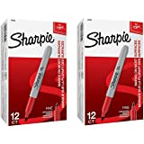 2 Boxes of 12 Sharpie Fine Point Permanent Markers, Red, Total of 24 Markers
