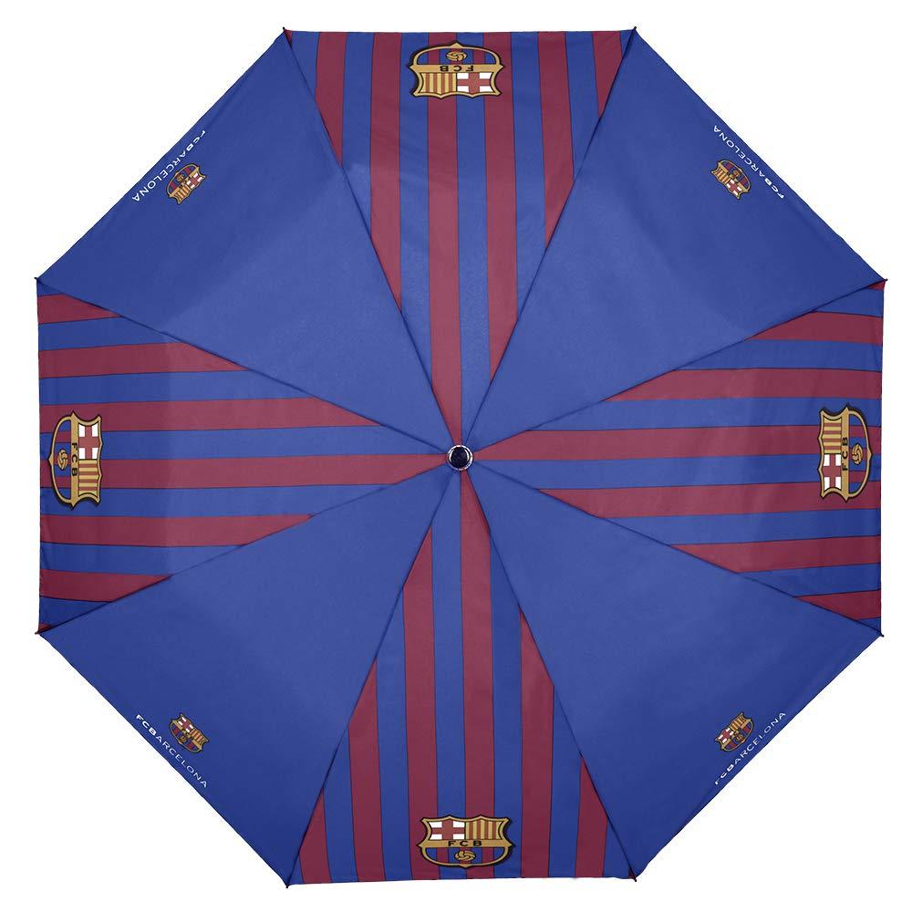 8+ Anni Perletti Barcelona 1899 Ombrello Pieghevole Bar/ça con Stemma Originale Blu Rosso Giallo Diametro 95 cm Apertura Automatica Ombrello Mini Barcellona Ufficiale