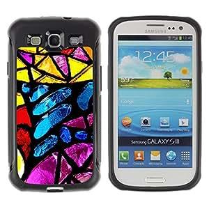 LASTONE PHONE CASE / Suave Silicona Caso Carcasa de Caucho Funda para Samsung Galaxy S3 I9300 / Stained Glass Yellow Blue Sun Colorful
