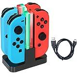 Nintendo Switch Joy-Con充電器 急速充電 【一年品質保証付き】ニンテンドースイッチ ジョイコン 充電スタンド 4台同時に充電可能 コンパクト 充電指示LED付き