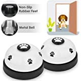 SlowTon Pet Bell, 2 Pack Metal Bell Dog Training with Non Skid Rubber Bottoms Dog Door Bell for Potty Training Clear…