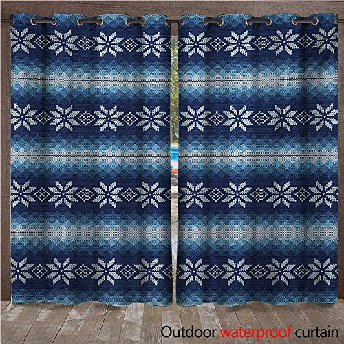 Winter Outdoor Ultraviolet Protective Curtains Traditional Scandinavian Needlework Inspired Pattern Jacquard Flakes Knitting Theme W96 x L108(245cm x 274cm)