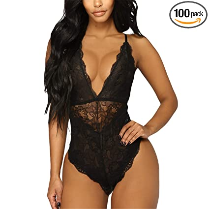 928a2fdecc Amazon.com  JFLYOU Women Deep V Sexy Lace Bodysuit Snap Crotch ...