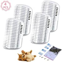 4 Pcs/Set Cat Self Groomer Brush Catnip-Wall Corner Mounted Massage Grooming Comb-Helps Prevent Hairballs and Controls Coming-Safe fortable with Catnip (White)