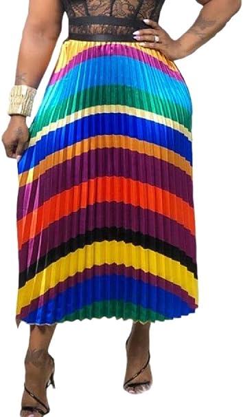 Gocgt Faldas Plisadas Coloridas con Cintura elástica, Falda Media ...