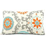 """Chloe & Olive Floral Pinwheel Collection and Polka Dot Toss Lumbar Pillow Cover, 12 by 20"""", Orange"""