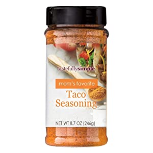 Tastefully Simple Mom's Favorite Taco Seasoning - Perfect in Taco Meat, Potatoes, Vegetables and Pasta Salad - 8.7 oz