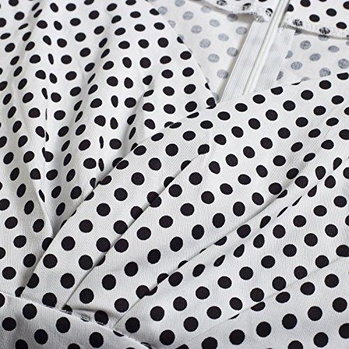 Wenseny Cap White Plaid Dress Polka Casual Rockabilly Retro Sleeve Dot 1950s Womens Dress 7nrR1WcF7