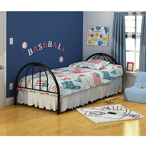 Metal Twin Black Bed, Headboard, Footboard, Bedding, Full Slat Mattress Support, Steel Construction, Contemporary Design, Kid's Room, Bundle with Our Expert Guide with Tips for Home Arrangement ()