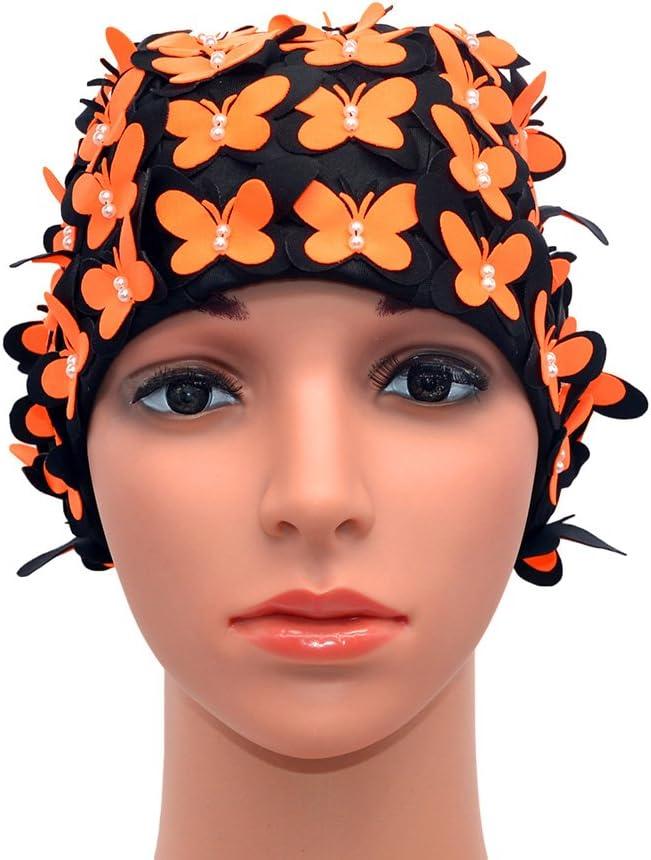 Medifier Vintage Gorro de ba/ño Floral Petal Retro Estilo Gorros de ba/ño para Las Mujeres