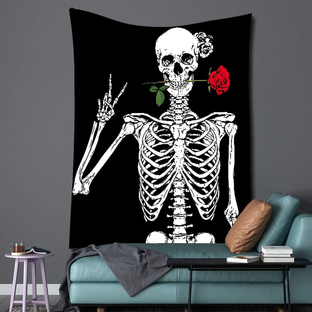 PuzCub Skull Red Rose Flower Tapestry Human Skeleton Black White Tapestry Wall Hanging for Bedroom Living Room Dining Room Décor