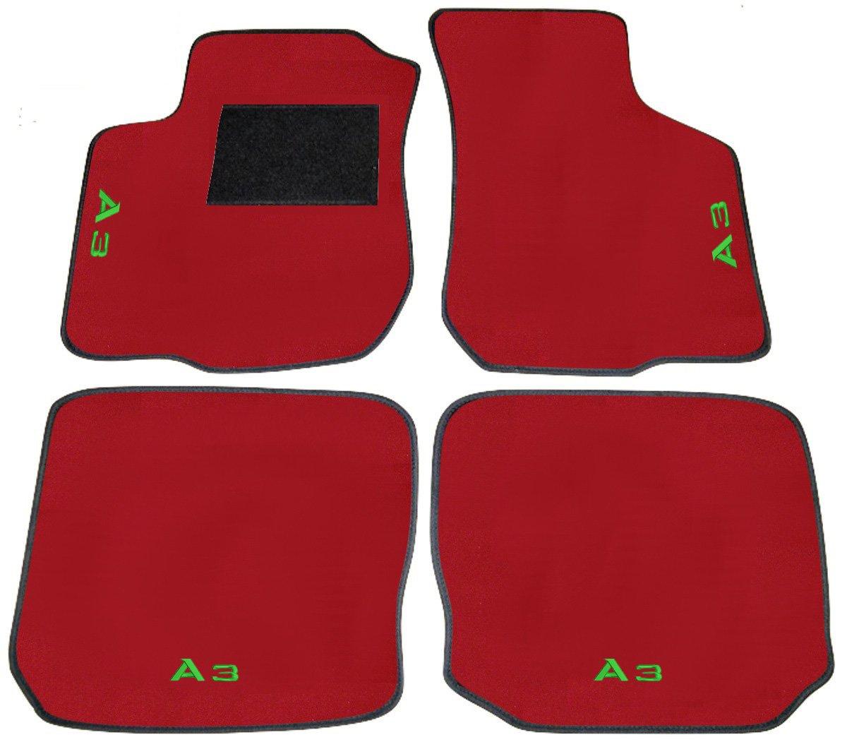 Juego Completo de Alfombras de Moqueta sobre tama/ño con bordado de hilo turquesa Audi A3/8L desde 1996/al 2003/Alfombras para coche rojos con bordo negro y Solera negro