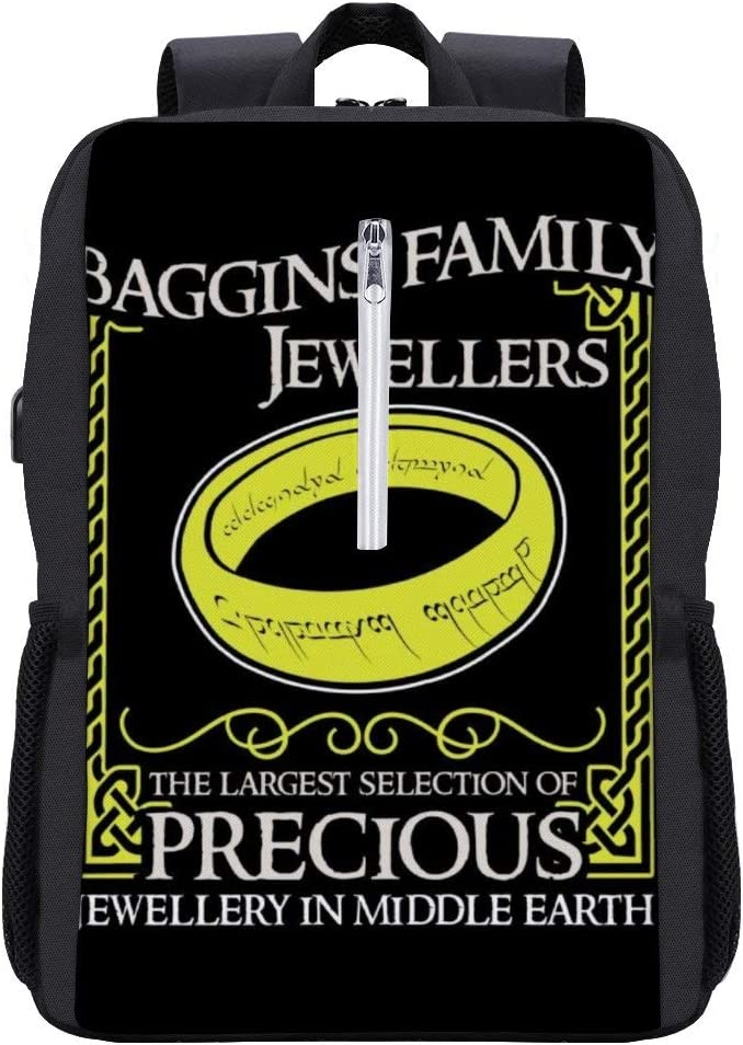 Lord of The Rings Baggins Family Jewellers Backpack Daypack Rucksack Laptop Shoulder Bag with USB Charging Port