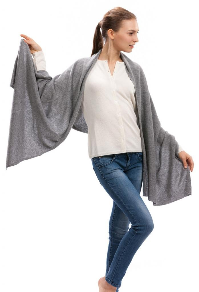 Cashmere Scarf Wrap - 100% Cashmere - by Citizen Cashmere (Grey) (43 500-05-09)