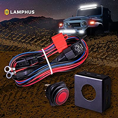 lamphus 17' off-road atv/jeep led light bar wiring harness kit [made in  usa] [hd 12awg wire] [ip65 waterproof rectangle switch]- heavy duty single  lead 30