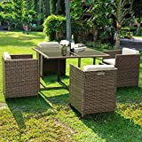 Tangkula Patio Furniture Outdoor Wicker Rattan Dining Set Cushioned Seat Garden Sectional Conversation Sofa with Glass Top Coffee Table (5 pcs Brown)
