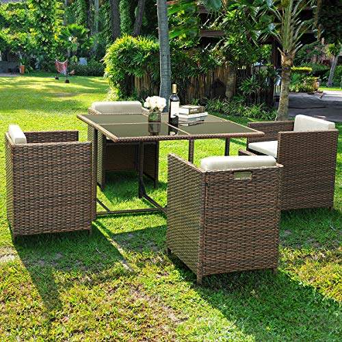 (Tangkula Patio Furniture Outdoor Wicker Rattan Dining Set Cushioned Seat Garden Sectional Conversation Sofa with Glass Top Coffee Table (5 pcs Brown))