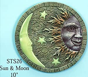 Sun moon glow in the dark stepping stone for Solar powered glow stepping stones