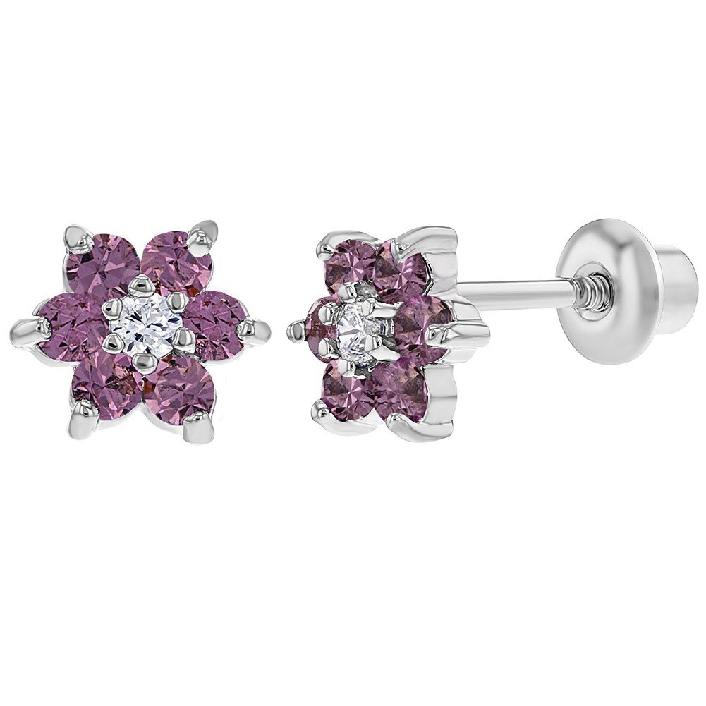 Rhodium Plated Purple Lavender Crystal Flower Screw Back Kids Baby Girl Earrings In Season Jewelry 03-1187