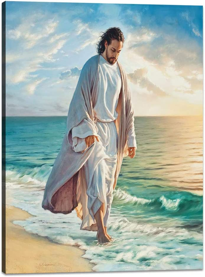 Yatsen Bridge Modern Vintage Jesus Posters for Home Office Decor Jesus Walking on The Beach Christian Religion Canvas Wall Art with Wooden Frame Stretched Ready to Hang - 18''Wx24''H
