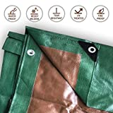 4-Foot by 18-Foot Green and Brown Wood Tarp Reversible Multi-Purpose Waterproof Poly Cover for Tents and Weather Protection