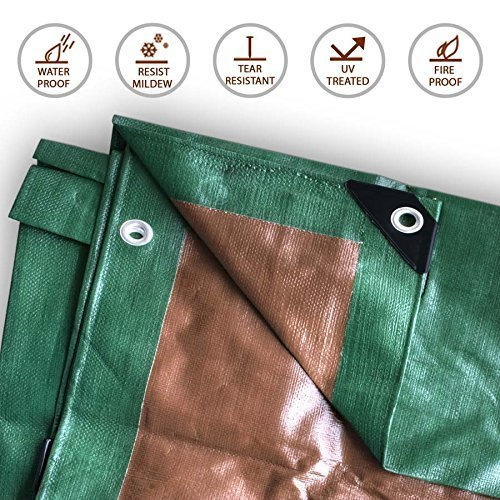4-Foot by 18-Foot Green and Brown Wood Tarp Reversible Multi-Purpose Waterproof Poly Cover for Tents and Weather Protection by Tent and Table
