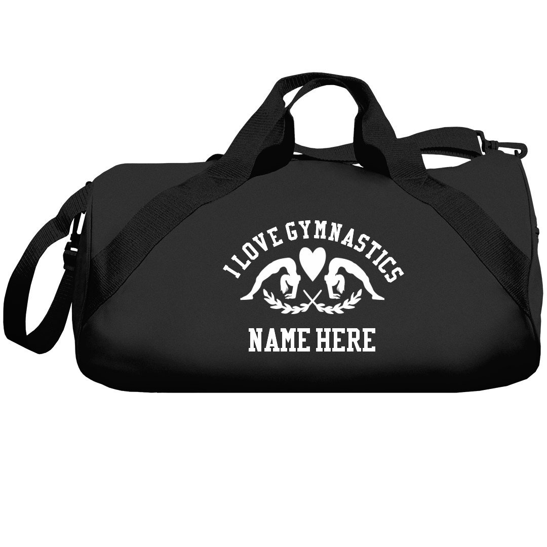 I Love Gymnastics Custom Name Gift: Liberty Barrel Duffel Bag