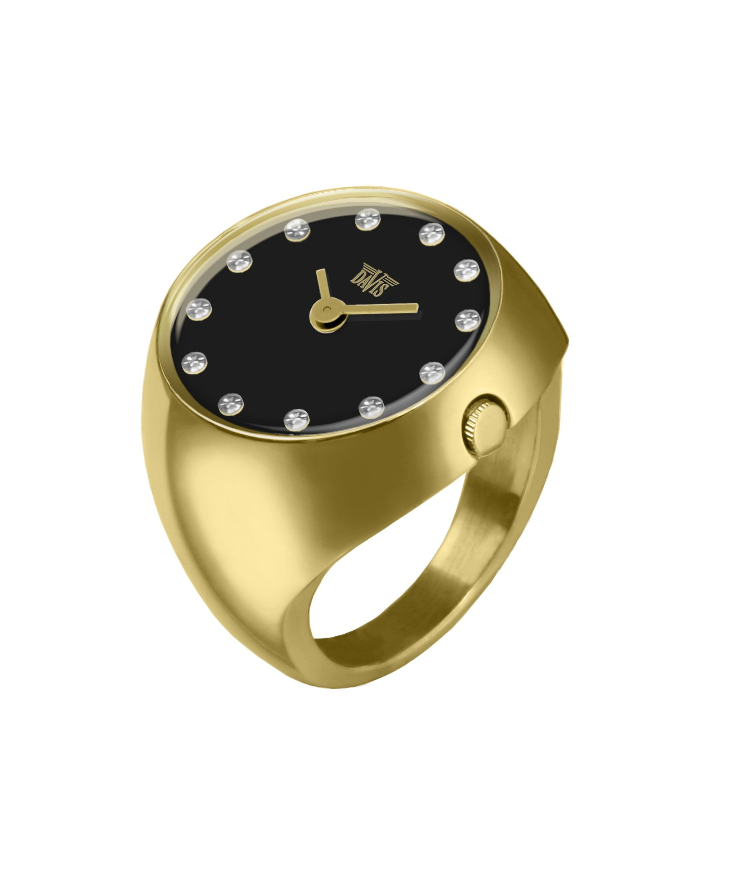 Davis 2015S - Womens Finger Ring Watch Yellow Gold Domed Sapphire Glass Black Dial with Swarovski Crystal Markers Size 52 by Davis