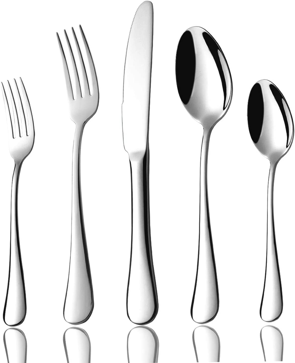 Silverware Set for 4, Flatware 20-Piece 18/10 Stainless Steel Cutlery Eating Utensils Heavy Duty Tableware with Dinner Spoon Fork Knife Set Weighted Dishwasher Safe Mirror Polished