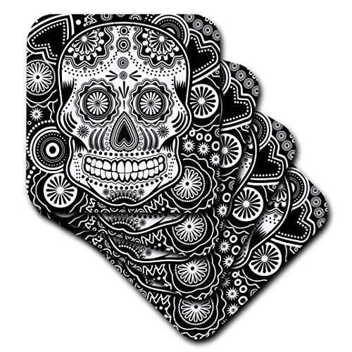 (3dRose CST_201651_2 Geometric Sugar Skull Soft Coasters, (Set of 8))