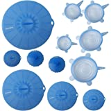 mockins 12 Pack Silicone Covers | 5 Silicone Stretch Lids & 7 Suction Lids | The Reuseable Silicone Huggers are Expandable To Fit Various Unique Shapes & Sizes To Keep Your Food Fresh & Tasty - Blue