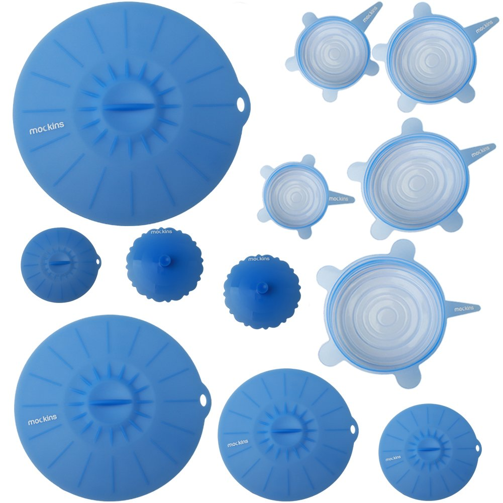 mockins 12 Pack Silicone Covers | 5 Silicone Stretch Lids & 7 Suction Lids | The Reusable Silicone Huggers are Expandable To Fit Various Unique Shapes & Sizes To Keep Your Food Fresh & Tasty - Blue by Mockins (Image #1)