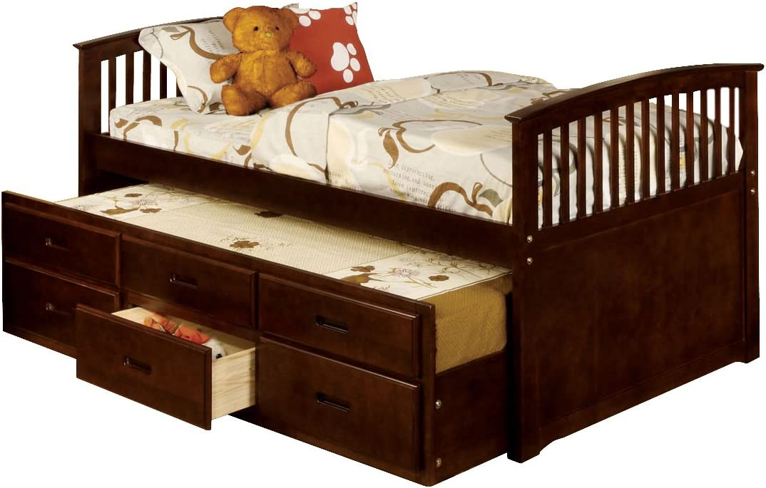 Dark Cherry Furniture of America Platform Style Daybed with Twin Trundle Twin