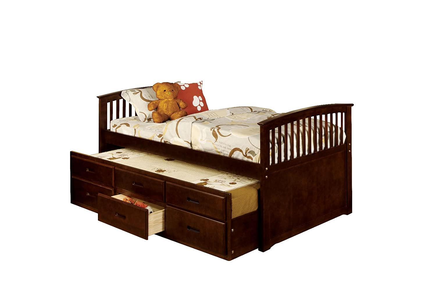 twin platform bed with trundle. Amazon.com: Furniture Of America Giordani Mission Style Twin Platform Bed  With Trundle And 3 Drawers, Dark Walnut Finish: Kitchen \u0026 Dining Twin Platform Bed Trundle