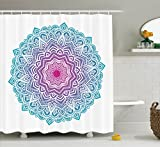 Ambesonne Mandala Shower Curtain, Round Floral Starry Pattern with Soft Aqua Color Spiritual Meditation Theme, Fabric Bathroom Decor Set with Hooks, 70 inches, Pink Blue White