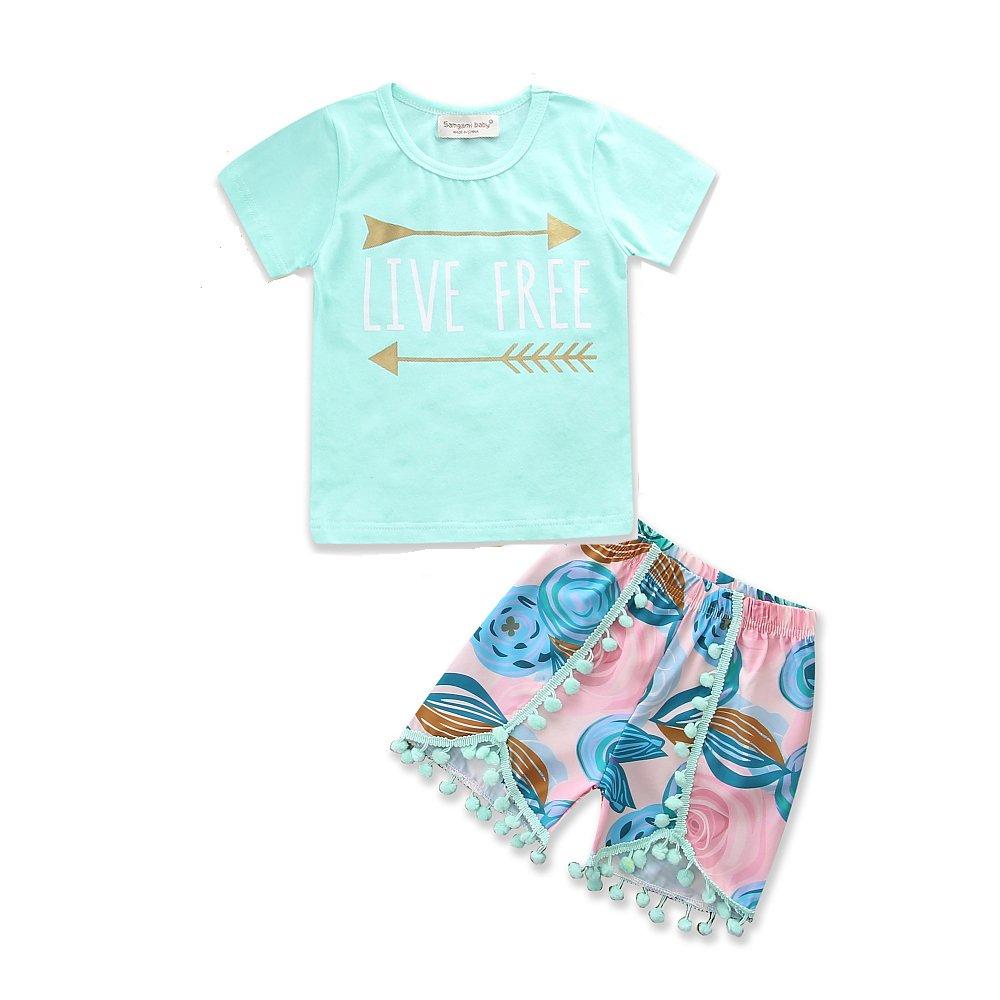 2Pcs/Set Toddler Baby Girl Short Sleeve Tops T-Shirt + Tassel Floral Short Pants Outfits Clothing
