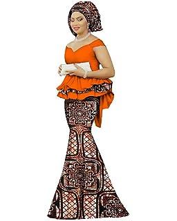 db8011e56e94 Womens African Mermaid Skirt Set Peplum Tops & Head Wrap & Long Skirt