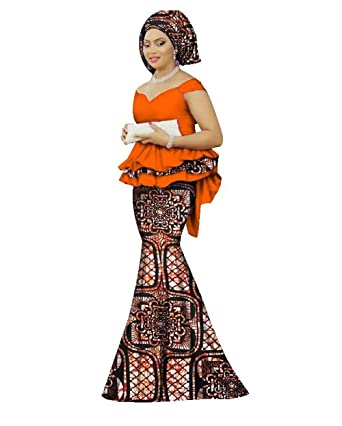 521d43d988 Womens African Mermaid Skirt Set Peplum Tops & Head Wrap & Long Skirt