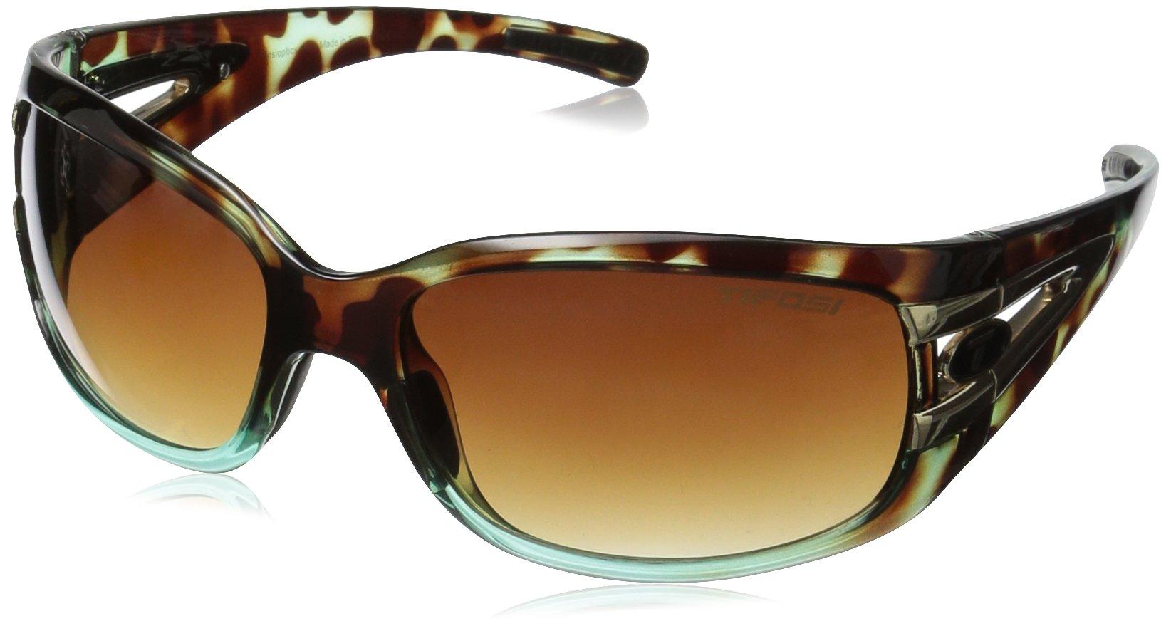 Tifosi Women's Lust Wrap Sunglasses Blue Tortoise 134 mm