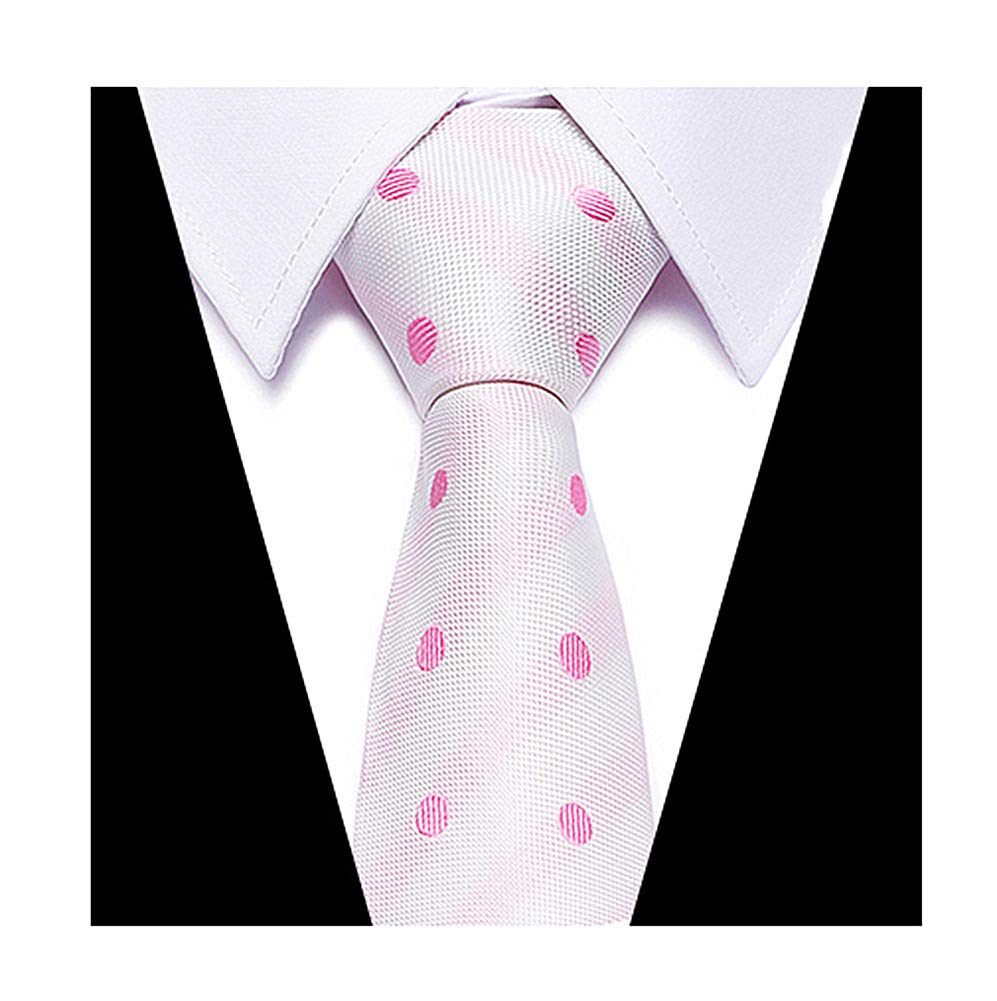 Big Boys White Pink Polka Dot Narrow Ties Fine Working Fun Neckties for Husband
