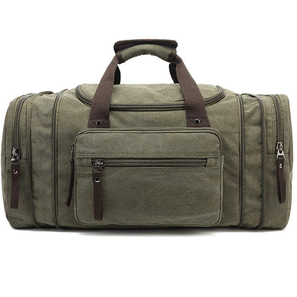 SHUAIJIE,Canvas Duffle Bag,Leather Weekend Bag,Carry On Travel Bag,Luggage Oversized Holdalls for Men and Women