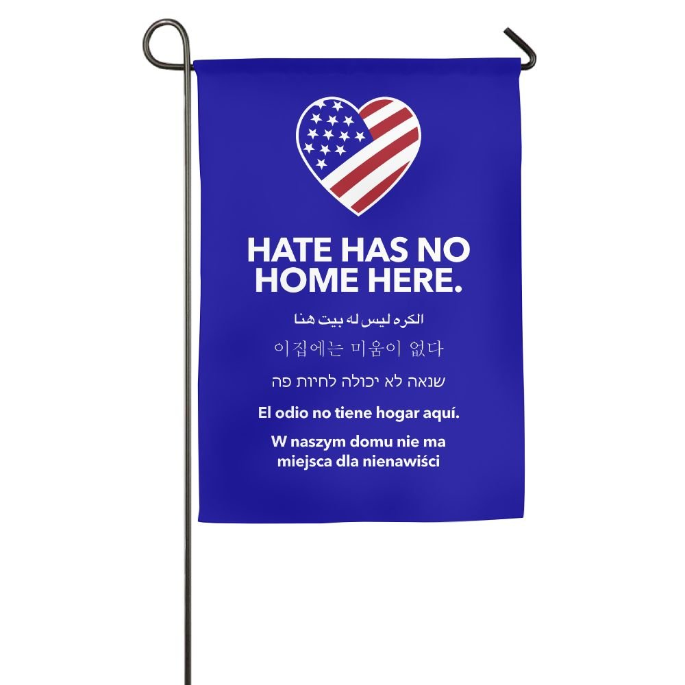 Hate Has No Home Here 100% Polyester House Flag Decorative Garden Flag Yard Banner Garden Flags