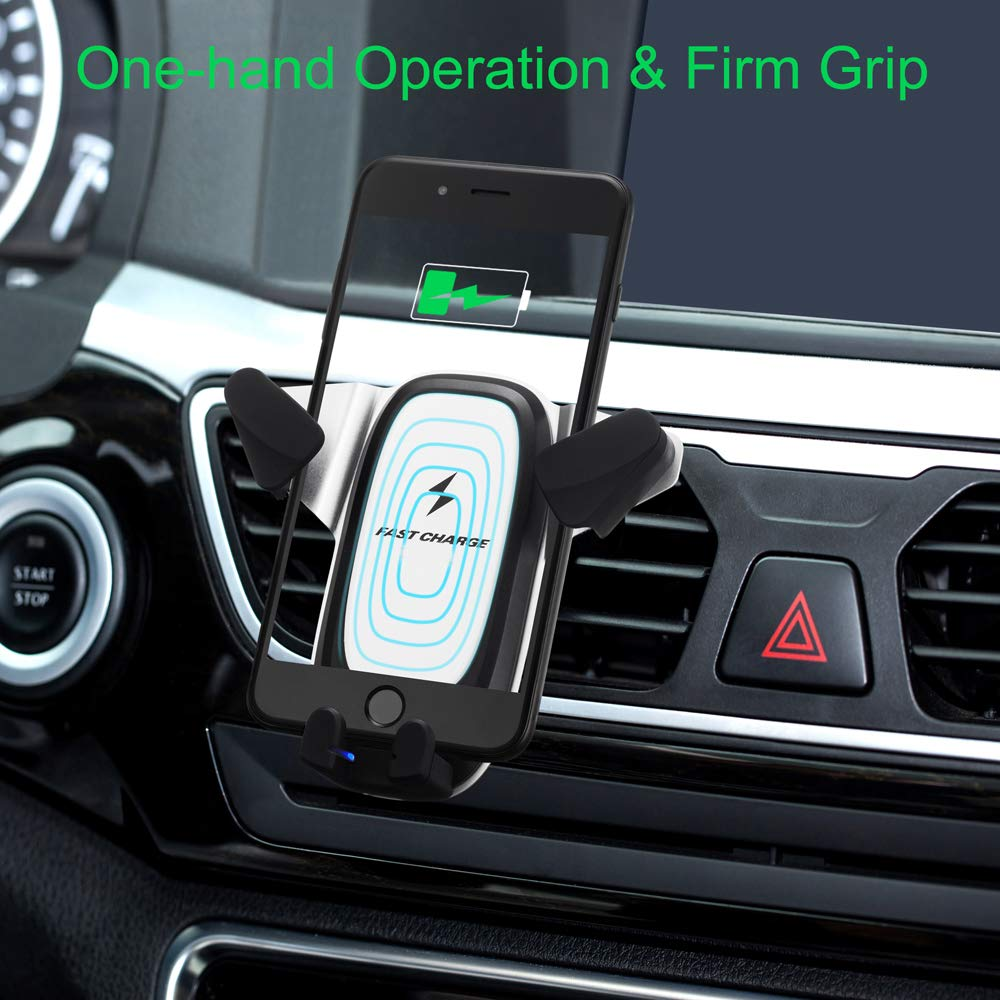 FONXA Wireless Car Charger Mount Grey 10w Fast Charging Qi Charger Air Vent Phone Holder Automatic Gravity Induction Chargers for All Qi Compatible Smart Phones