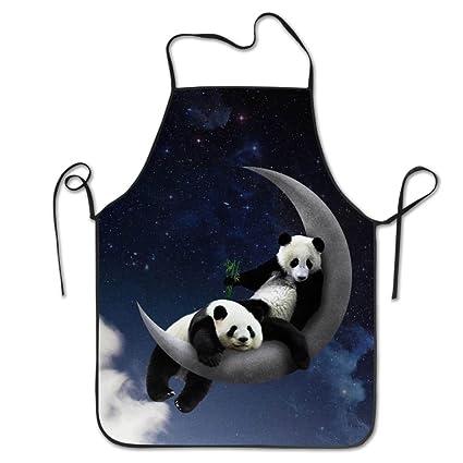 Bobimu Panda Moon - Delantal de cocina, para cocina, cocina, jardín, chef