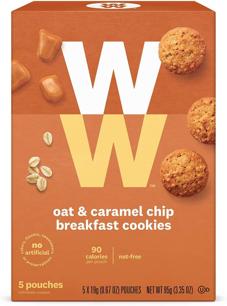 WW Oat and Caramel Chip Breakfast Cookies - Nut Free- 3 SmartPoints- 1 Box (5 Count) Weight Watchers