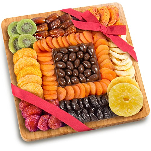 Golden State Fruit Dried Fruit and Chocolate Nuts On Bamboo Cutting Board Serving Tray