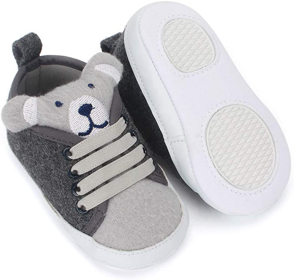 LACOFIA Baby Boys Sneakers Infant Anti-Slip Soft Sole 3D Animal First Walking Shoes