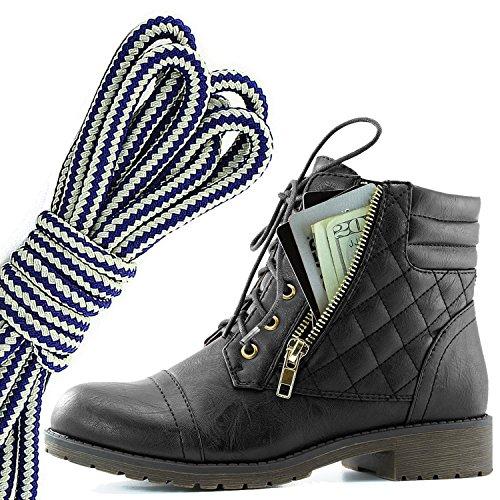 Dailyshoes Donna Militare Allacciatura Fibbia Stivali Da Combattimento Caviglia Alta Esclusiva Tasca Per Carte Di Credito, Blu Navy Bianco Nero Pu