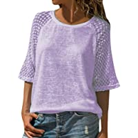 b9df1178e3ce TWGONE Half Sleeve Shirt Women Plus Size Casual Tops Lace Stitching Scoop  Neck Blouse