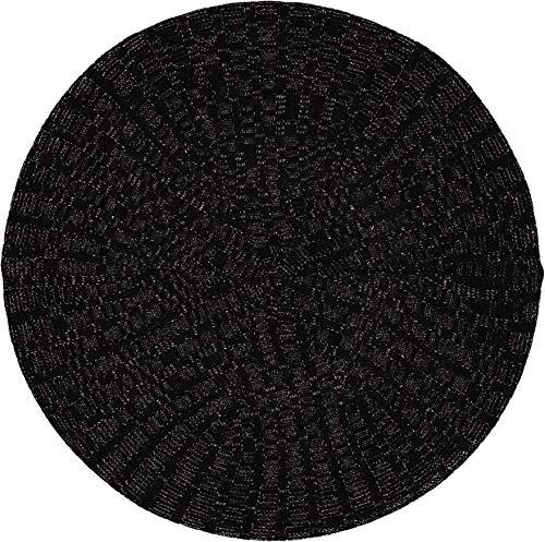 Lizi Headwear Ribbed Lurex Lined Cap Snood Beret Hat for Women Black/Silver ()